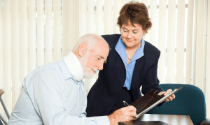 personal injury attorney helping client
